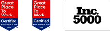 Two Great Place to Work Certified logos for 2018-2020 with white text on red and blue backgrounds and an Inc. 500 logo with black text on white background  lined up in a single row